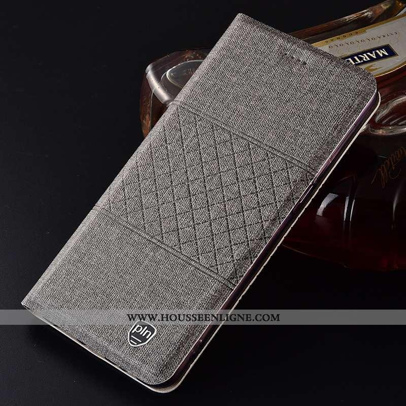 Housse Samsung Galaxy A21s Protection Cuir Coque Lin Gris Incassable