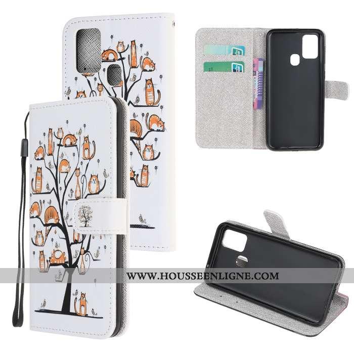 Housse Samsung Galaxy A21s Protection Dessin Animé Clamshell Cuir Téléphone Portable Coque Étui Blan