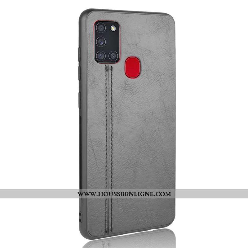 Housse Samsung Galaxy A21s Protection Modèle Fleurie Noir Coque Bovins Téléphone Portable Étui