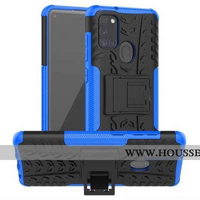 Housse Samsung Galaxy A21s Protection Personnalité Bleu Téléphone Portable Modèle Fleurie Support Ét