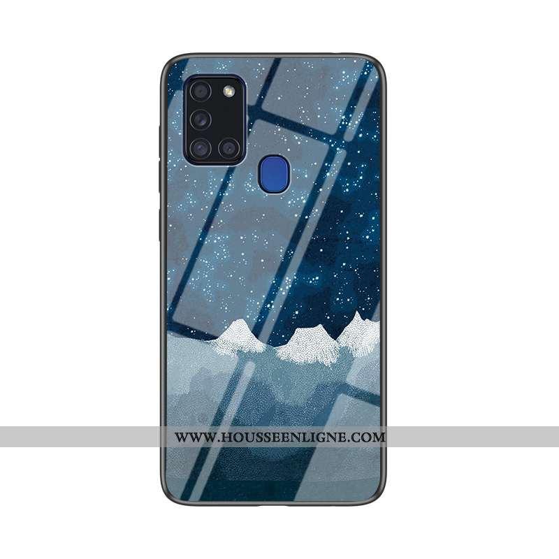 Housse Samsung Galaxy A21s Verre Tendance Téléphone Portable Étoile Bleu Marin Coque Tout Compris Bl