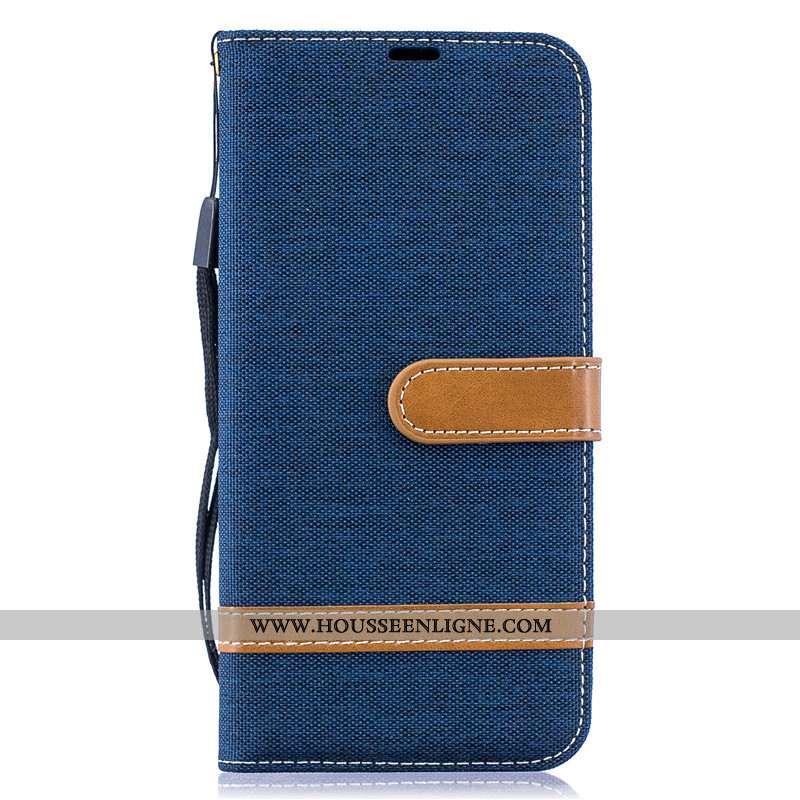 Housse Samsung Galaxy A30s Cuir Protection Nouveau Téléphone Portable En Denim Étui Étoile Bleu Fonc