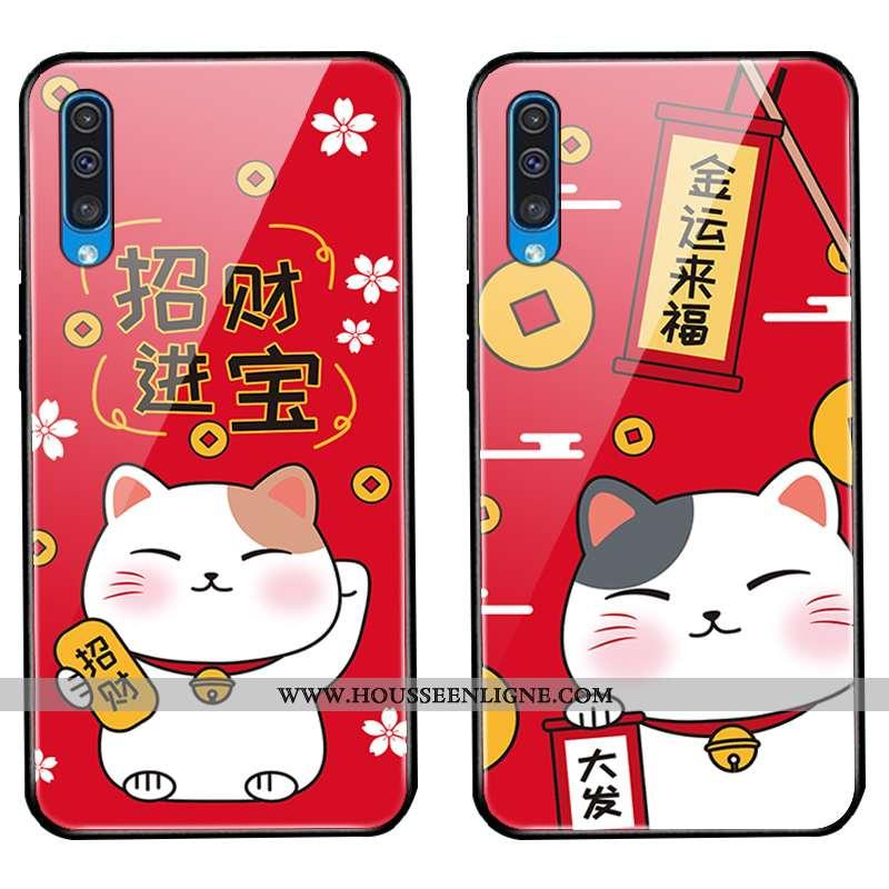 Housse Samsung Galaxy A30s Protection Verre Coque Chat Rouge Nouveau Étui