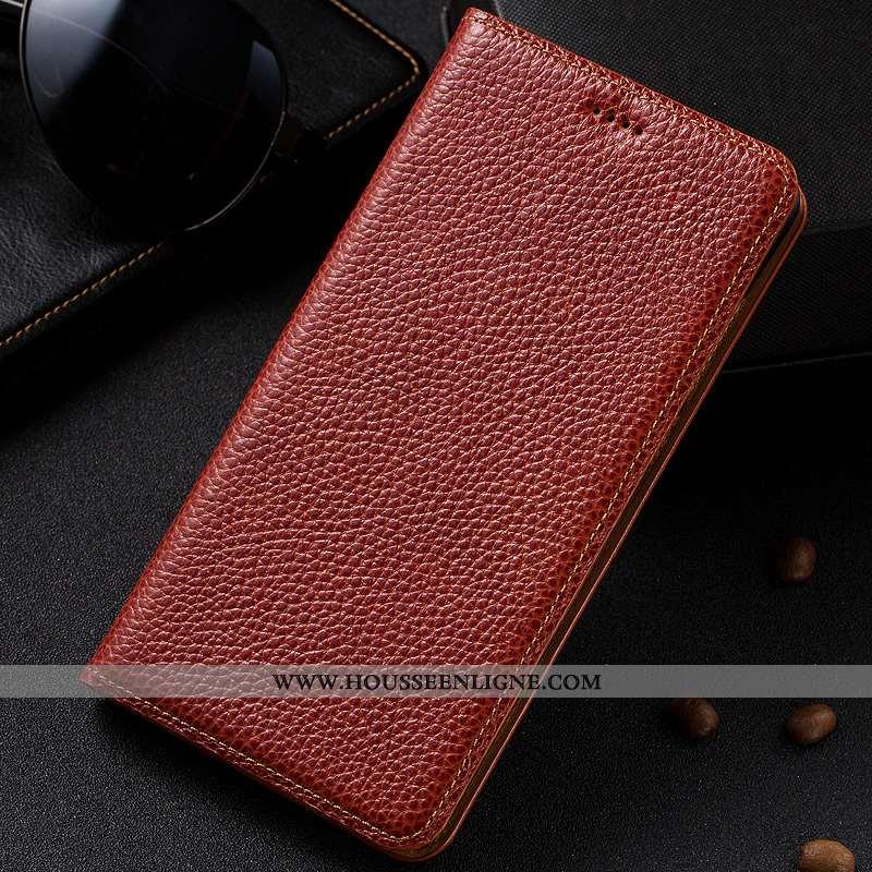 Housse Samsung Galaxy A40 Modèle Fleurie Protection Litchi Étui Marron Cuir Véritable