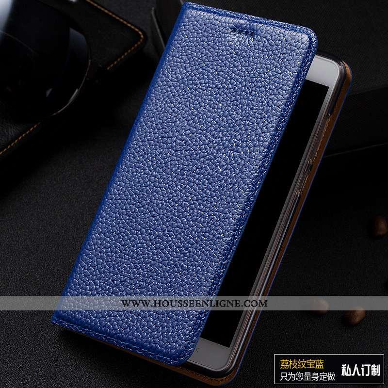 Housse Samsung Galaxy A40s Modèle Fleurie Protection Bleu Marin Litchi Cuir Véritable Incassable Coq
