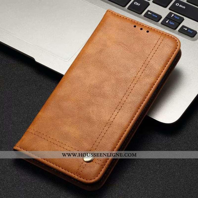 Housse Samsung Galaxy A40s Protection Cuir Véritable Cuir Étui Coque Téléphone Portable Marron