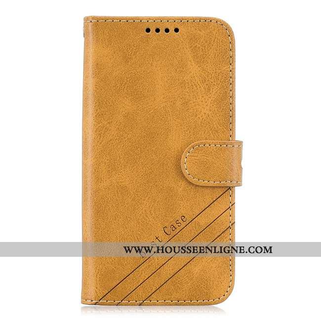 Housse Samsung Galaxy A41 Cuir Protection Tout Compris Coque Étui Téléphone Portable Jaune