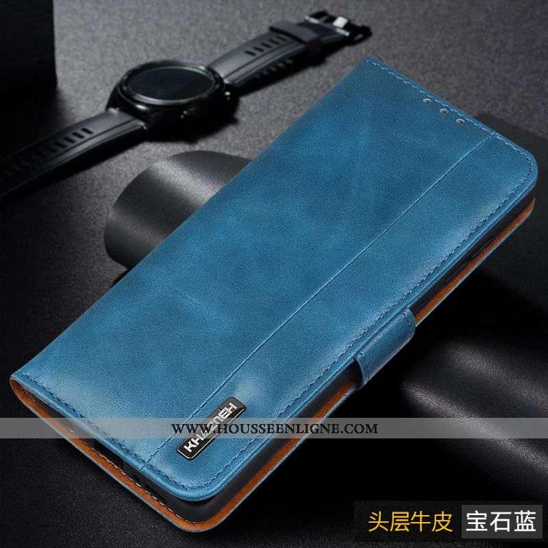Housse Samsung Galaxy A41 Cuir Véritable Carte Portefeuilles Bleu Étoile Business