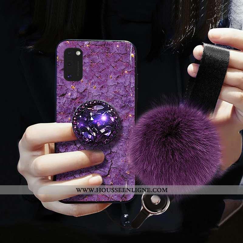 Housse Samsung Galaxy A41 Fluide Doux Mode Modèle Fleurie Incassable Étoile Protection Luxe Violet