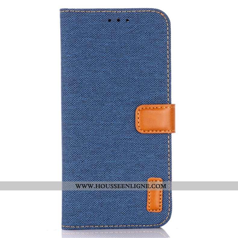 Housse Samsung Galaxy A41 Protection Cuir Bleu En Denim Coque Clamshell Incassable