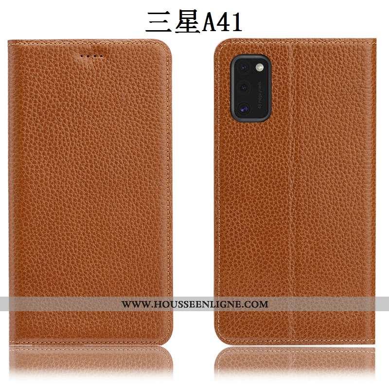 Housse Samsung Galaxy A41 Protection Cuir Véritable Étui Téléphone Portable Litchi Coque Tout Compri
