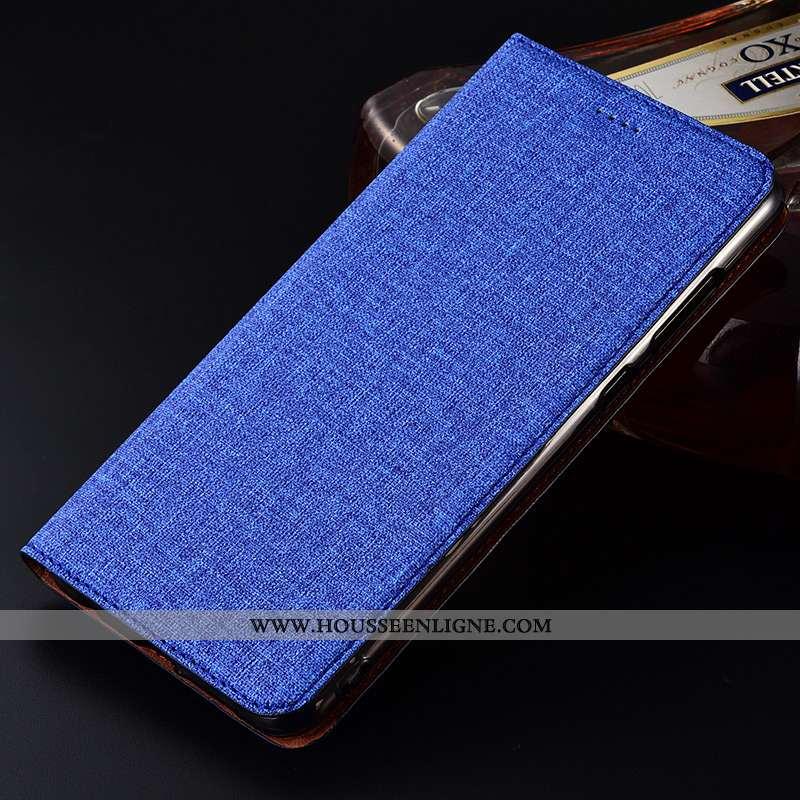 Housse Samsung Galaxy A50 Cuir Fluide Doux Lin Silicone Nouveau Protection Clamshell Bleu
