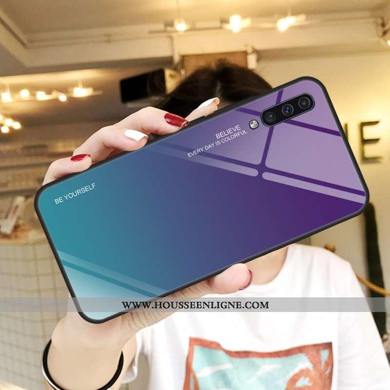 Housse Samsung Galaxy A50 Protection Verre Coque Violet Tempérer Téléphone Portable Couvercle Arrièr