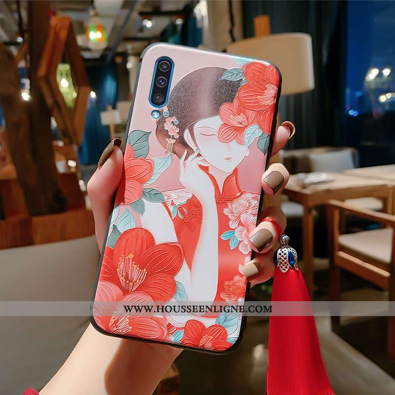 Housse Samsung Galaxy A50 Vintage Ultra Incassable Gaufrage Tout Compris Rouge Style Chinois