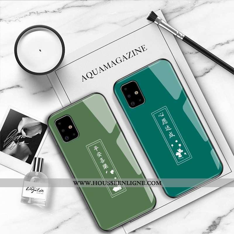 Housse Samsung Galaxy A51 Fluide Doux Mode Coque Créatif Étui Incassable Style Chinois Verte