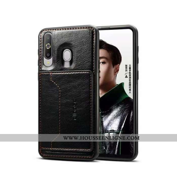 Housse Samsung Galaxy A60 Cuir Noir Placage Coque Étoile Téléphone Portable Tout Compris