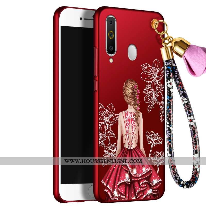 Housse Samsung Galaxy A60 Fluide Doux Protection Étui Incassable Étoile Coque Rouge