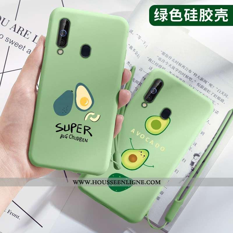Housse Samsung Galaxy A60 Fluide Doux Silicone Tendance Protection Petit Légère Vert Verte