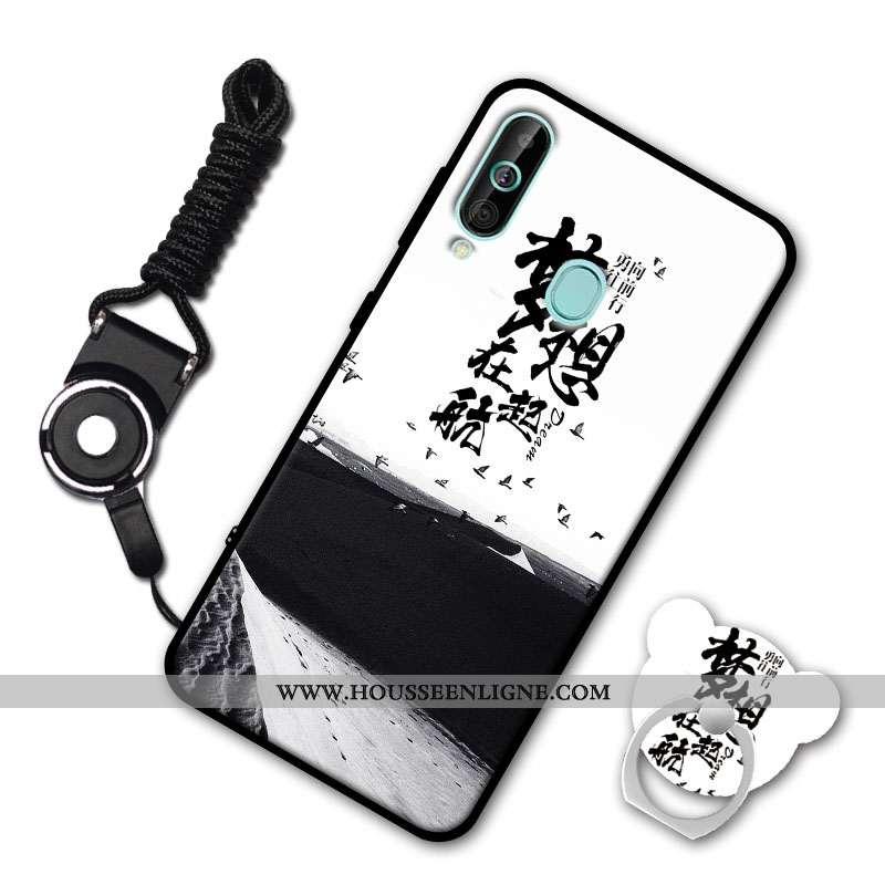 Housse Samsung Galaxy A60 Silicone Protection Ornements Suspendus Étoile Fluide Doux Étui Coque Blan