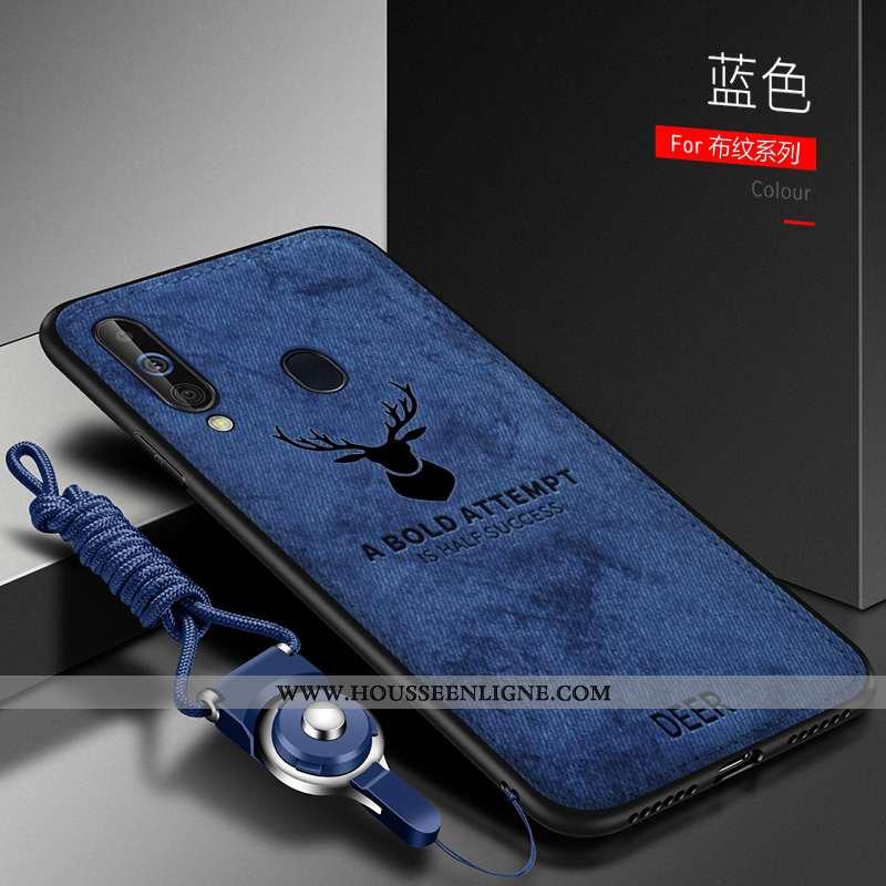 Housse Samsung Galaxy A60 Tendance Légère Étoile Silicone Simple Protection Tissu Bleu Foncé