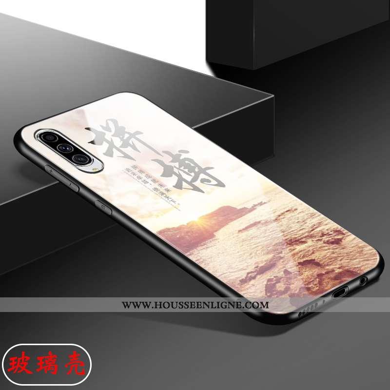 Housse Samsung Galaxy A70 Délavé En Daim Verre Antidérapant Simple Membrane Coque Étui Rose