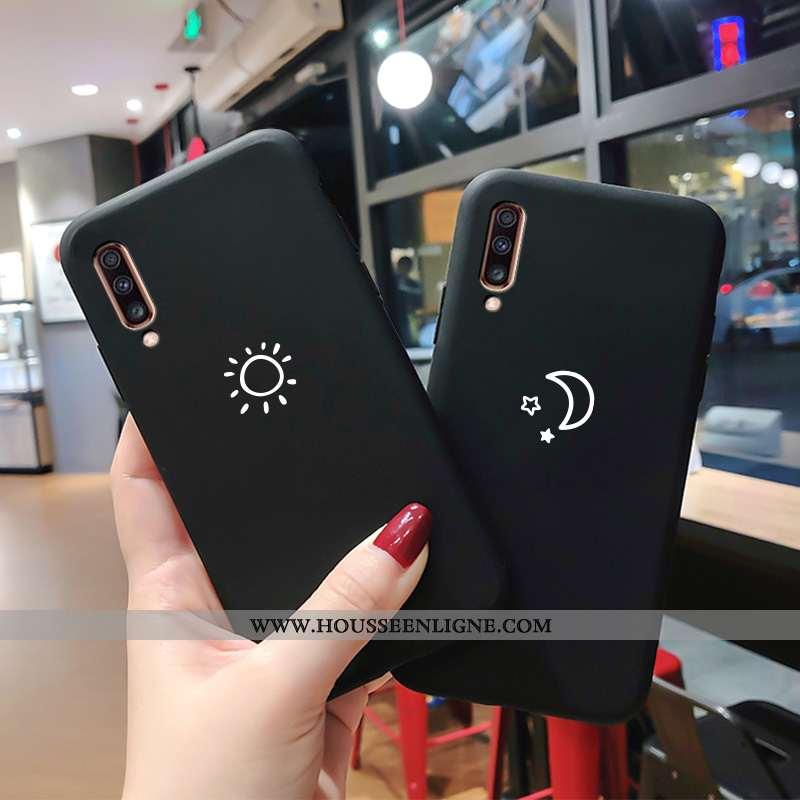 Housse Samsung Galaxy A70 Transparent Délavé En Daim Simple Fluide Doux Noir Personnalité Net Rouge