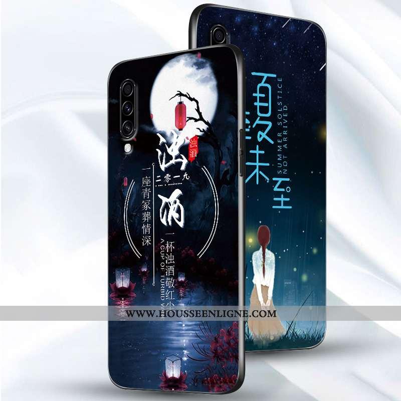 Housse Samsung Galaxy A70s Créatif Tendance Coque Délavé En Daim Étui Étoile Simple Bleu Foncé