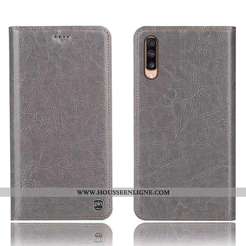 Housse Samsung Galaxy A70s Cuir Véritable Modèle Fleurie Gris Incassable Téléphone Portable Protecti