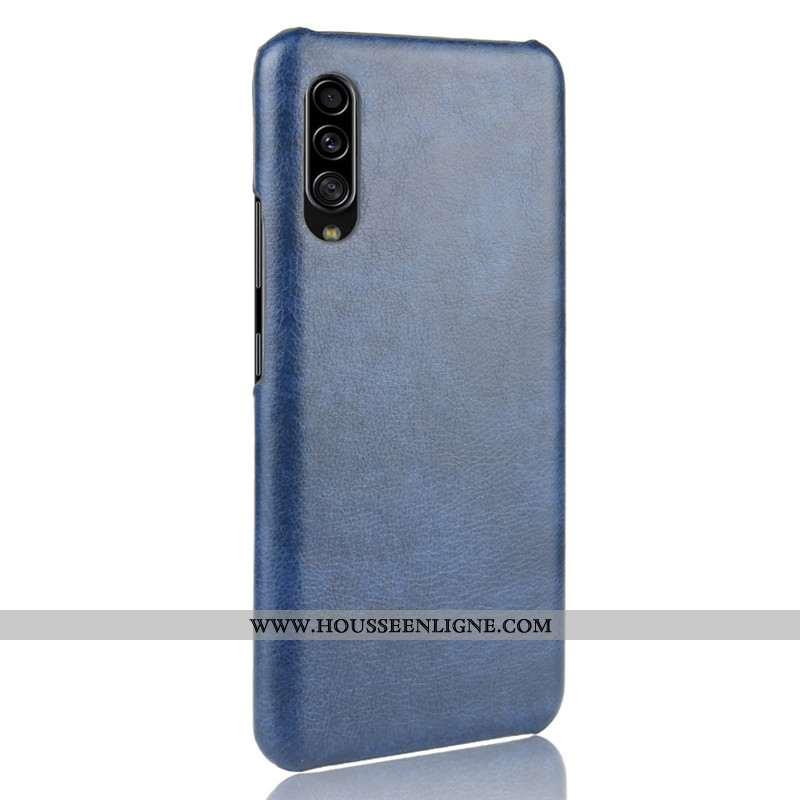 Housse Samsung Galaxy A70s Modèle Fleurie Protection Difficile Litchi Cuir Coque Qualité Bleu