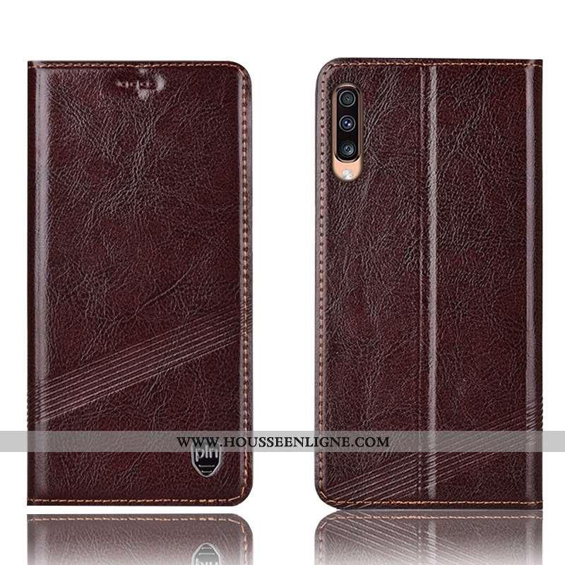Housse Samsung Galaxy A70s Protection Cuir Véritable Téléphone Portable Coque Marron Incassable Étoi