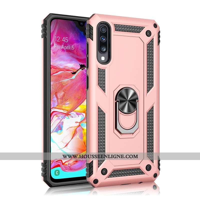 Housse Samsung Galaxy A70s Tendance Fluide Doux Rose Incassable Anneau Tout Compris Une Agrafe