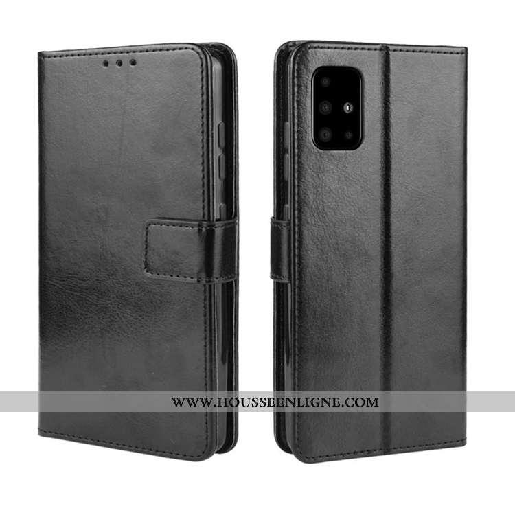 Housse Samsung Galaxy A71 Cuir Coque Étoile Carte Étui Téléphone Portable Noir