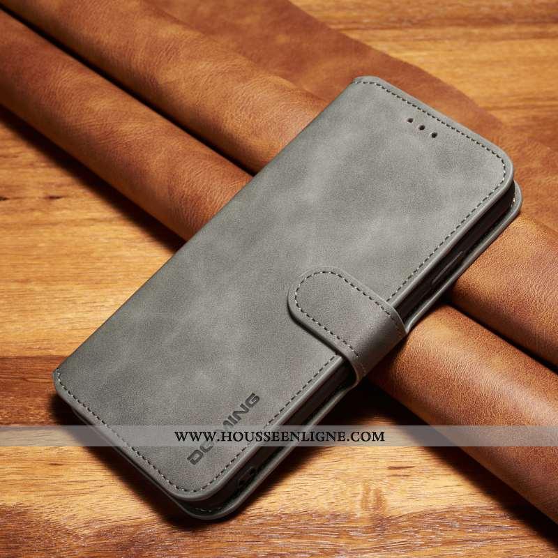 Housse Samsung Galaxy A71 Cuir Fluide Doux Coque Gris Étui Vintage