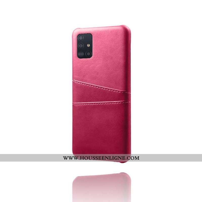 Housse Samsung Galaxy A71 Cuir Protection Étoile Coque Carte Qualité Rouge Rose