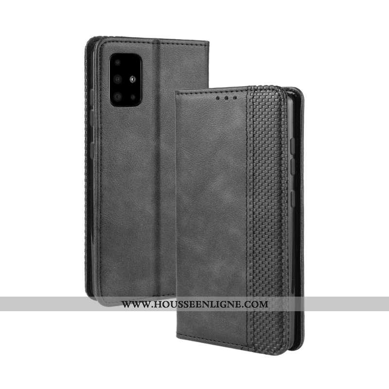 Housse Samsung Galaxy A71 Cuir Protection Tout Compris Étoile Coque Boucle Magnétique Noir