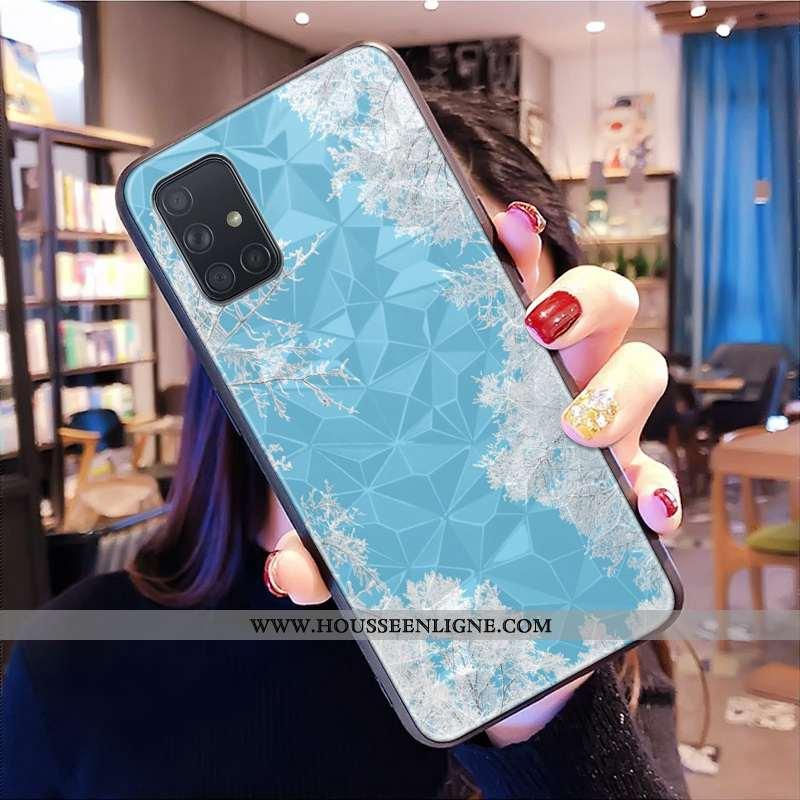 Housse Samsung Galaxy A71 Modèle Fleurie Petit Losange Étoile Net Rouge Frais Bleu