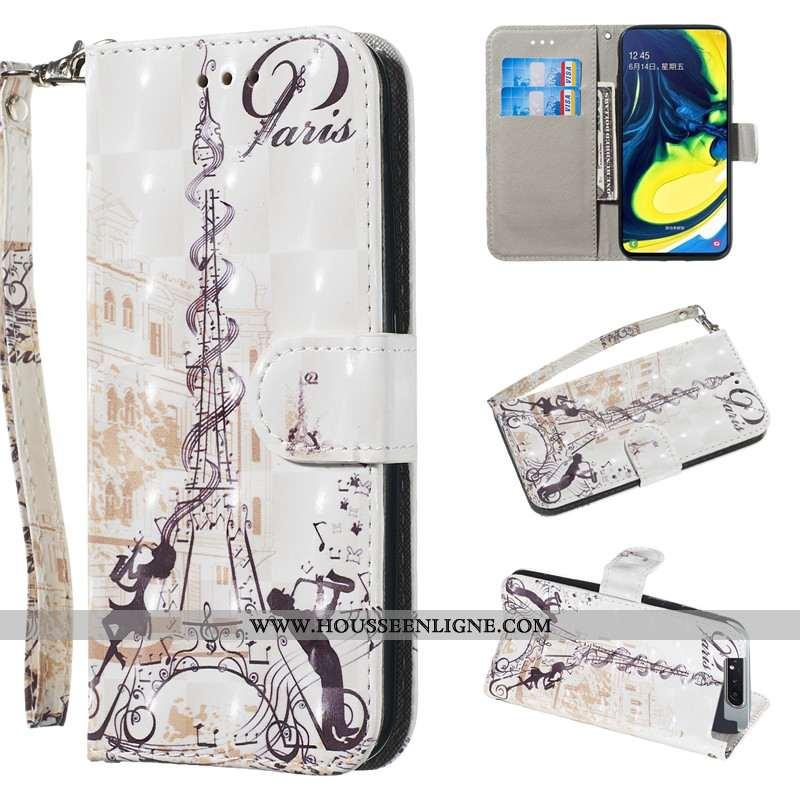 Housse Samsung Galaxy A80 Charmant Cuir Blanc Coque Fluide Doux Personnalité Étui Blanche