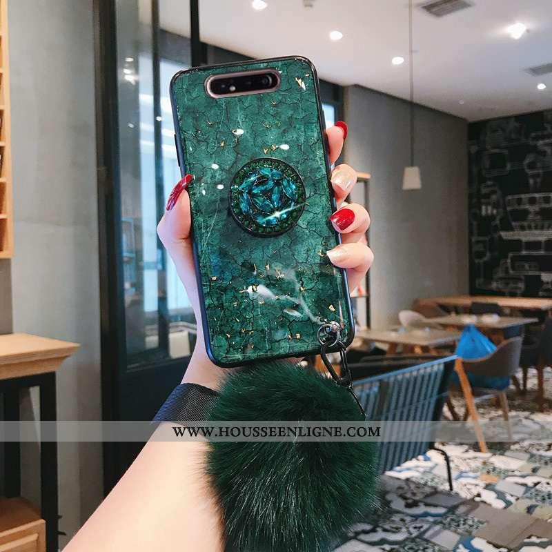Housse Samsung Galaxy A80 Mode Protection Net Rouge Légères Incassable Silicone Coque Verte