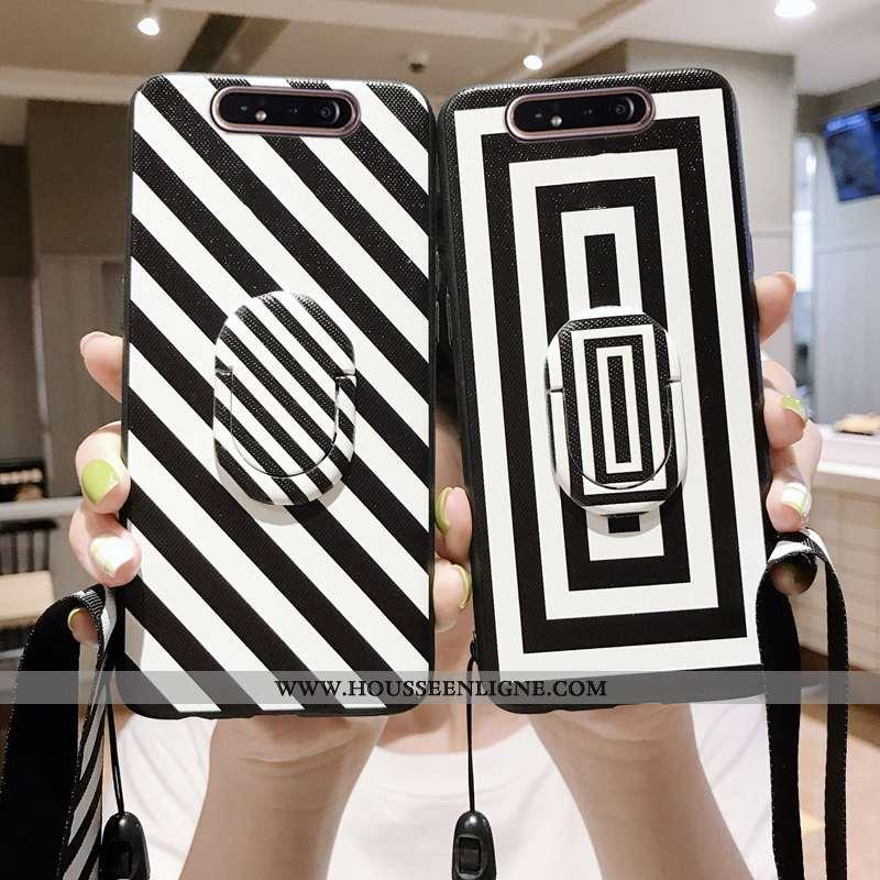 Housse Samsung Galaxy A80 Ornements Suspendus Modèle Fleurie Noir Coque Étoile Téléphone Portable Bl