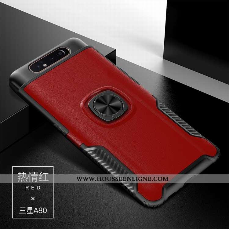 Housse Samsung Galaxy A80 Protection Cuir Étoile Difficile Support Coque Modèle Fleurie Rouge