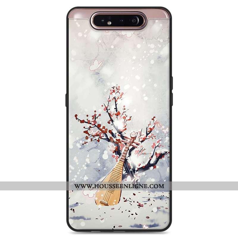 Housse Samsung Galaxy A80 Protection Vintage Style Chinois Frais Étoile Petit Art Blanche