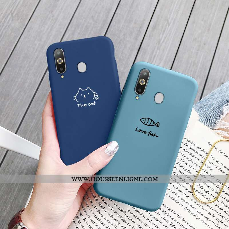 Housse Samsung Galaxy A8s Créatif Dessin Animé Art Coque Bleu Net Rouge Téléphone Portable