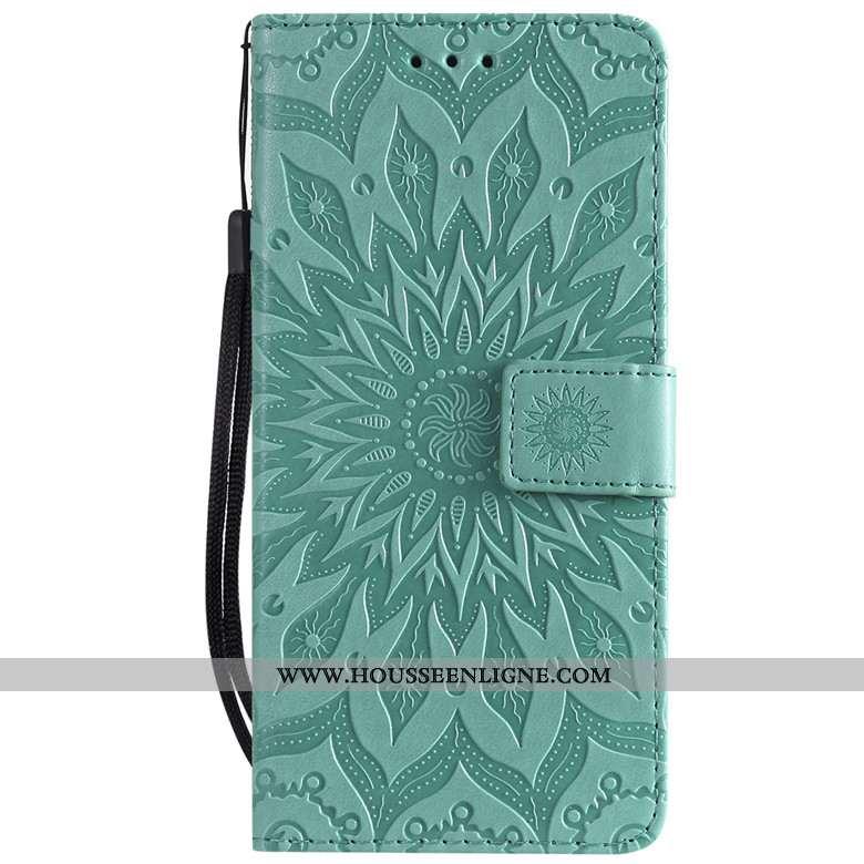 Housse Samsung Galaxy A8s Fluide Doux Protection Étoile Cuir Vert Coque Étui Verte