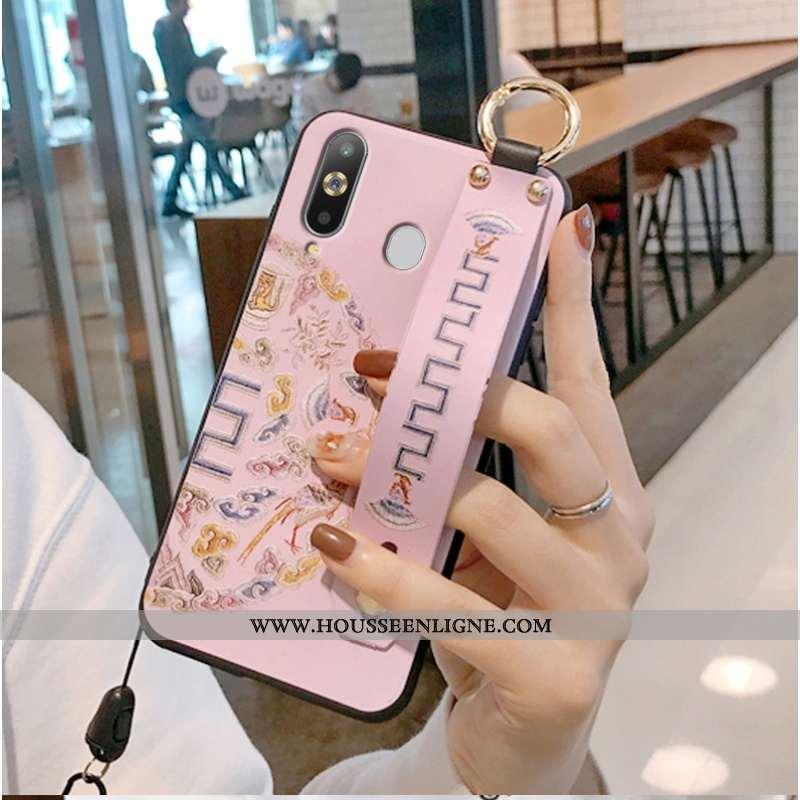 Housse Samsung Galaxy A8s Mode Protection Modèle Fleurie Frais Téléphone Portable Étui Simple Rose