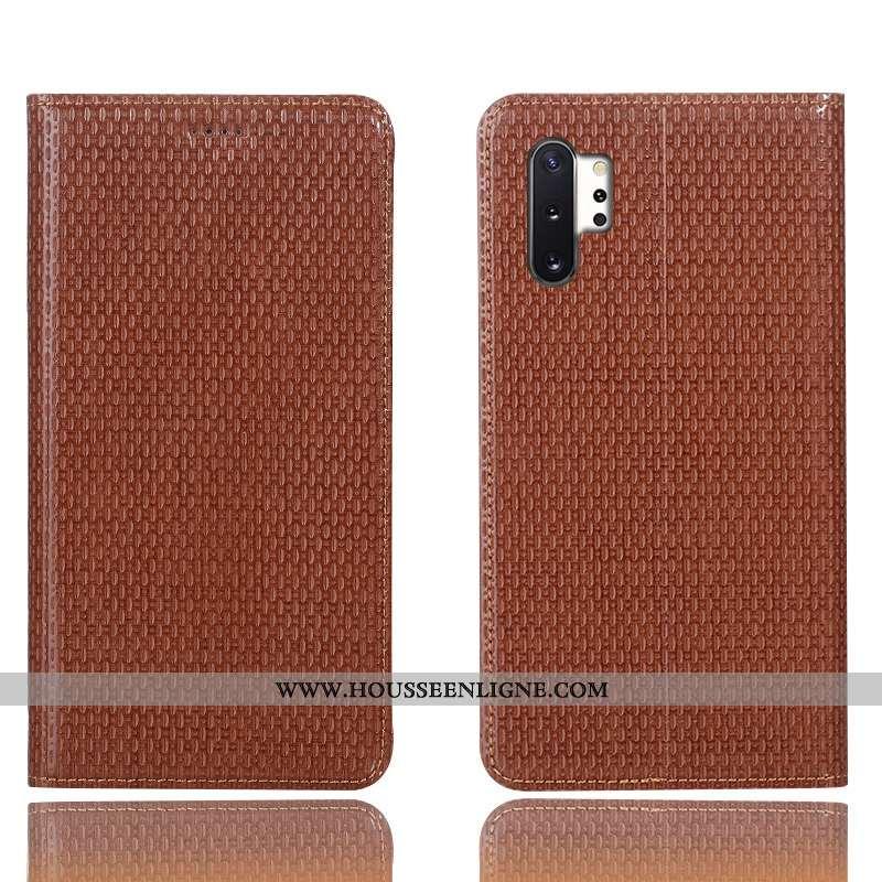 Housse Samsung Galaxy Note 10+ Cuir Véritable Protection Incassable Coque Téléphone Portable Marron