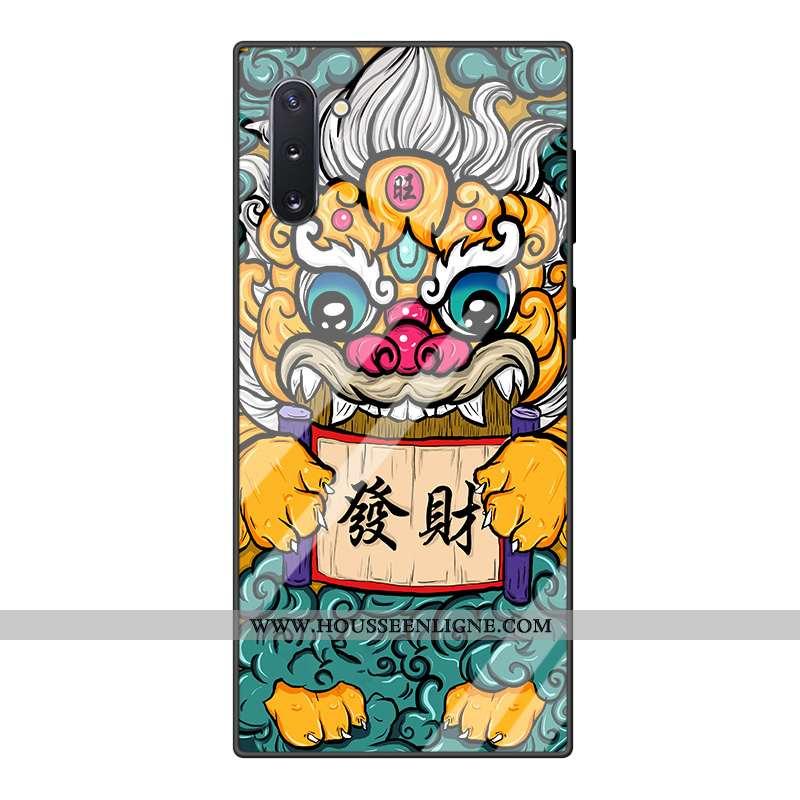 Housse Samsung Galaxy Note 10 Dessin Animé Tendance Incassable Net Rouge Vert Étoile Tempérer Verte
