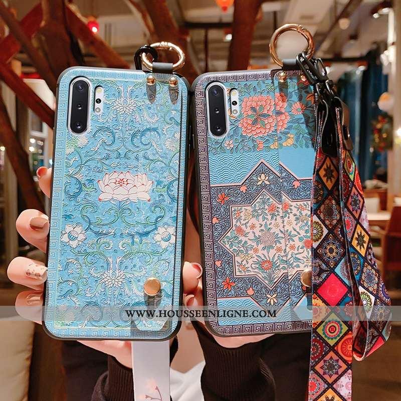 Housse Samsung Galaxy Note 10+ Fluide Doux Silicone Cou Suspendu Gaufrage Étui Vintage Téléphone Por