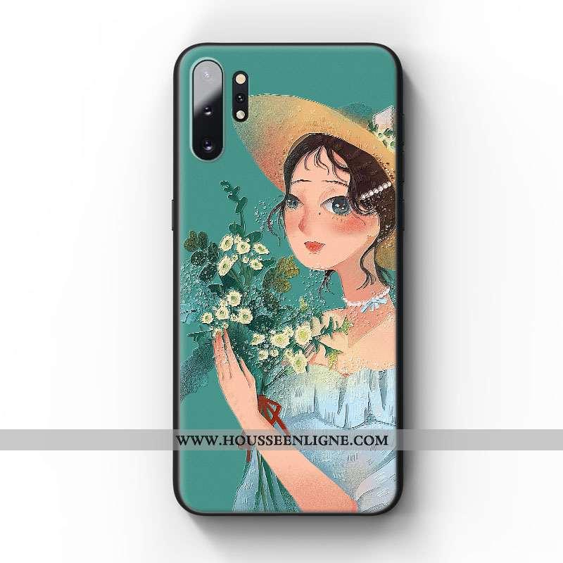 Housse Samsung Galaxy Note 10+ Gaufrage Tendance Fleur Téléphone Portable Art Incassable Coque Verte