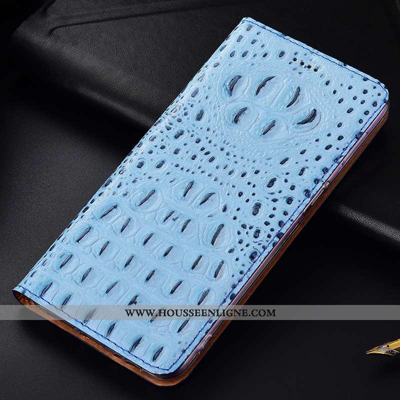 Housse Samsung Galaxy Note 10 Lite Cuir Véritable Protection Téléphone Portable Bleu Incassable Croc