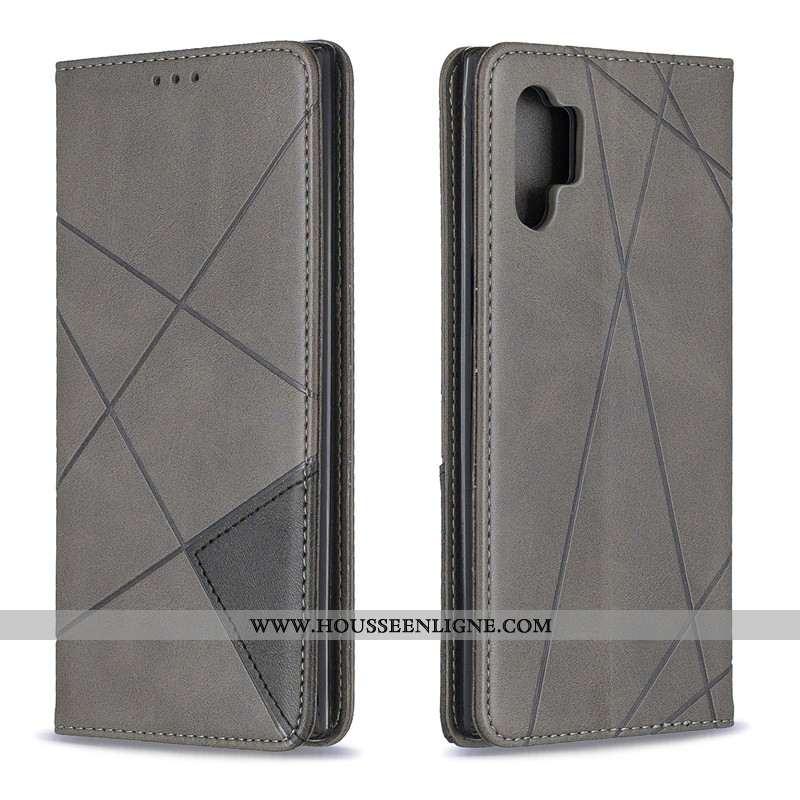 Housse Samsung Galaxy Note 10+ Ornements Suspendus Cuir Simple Gris Étui Couleur Unie